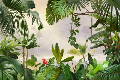 Papiers peints adorable background design with tropical palm and banana leaves, can be used as background, wallpaper