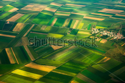 Papiers peints aerial photo from a plane, top view, field roads and city