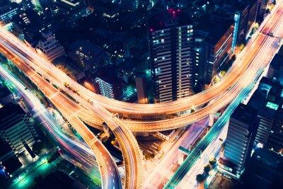 Papiers peints Aerial-view highway junction at night in Tokyo, Japan