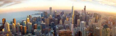 Papiers peints Aérienne panorama Chicago au coucher du soleil, IL, USA