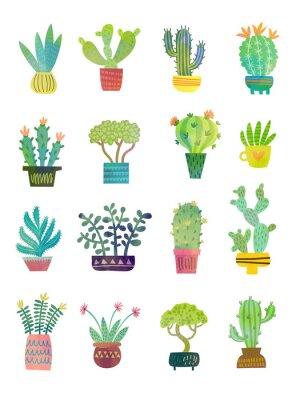 Papiers peints affiche aquarelle cactus