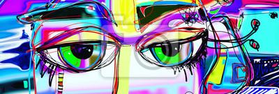 Papiers peints affiche d'art abstrait numérique avec doodle yeux humains