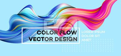 Papiers peints Affiche de flux coloré moderne. Forme liquide d'onde sur fond de couleur bleue. Conception d'art pour votre projet de conception. Illustration vectorielle