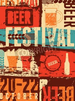Papiers peints Affiche grunge de style vintage de festival de bière. Rétro illustration vectorielle.