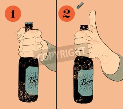 Papiers peints Affiche grunge vintage de bière de style. Instruction humoristique d'affiche pour ouvrir une bouteille de bière. Main tenant une bouteille de bière. Illustration vectorielle.