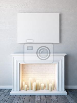 Affiche Horizontale Maquette Dans Un Interieur Blanc Neutre Avec