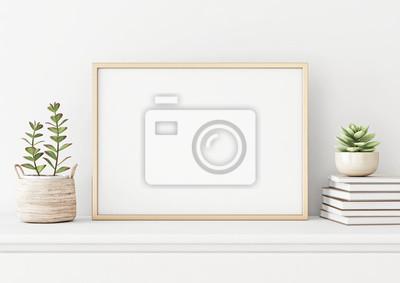 Papiers peints Affiche intérieure maison maquette avec structure en métal horizontale, succulentes dans le panier et pile de livres sur fond de mur blanc. Rendu 3D.