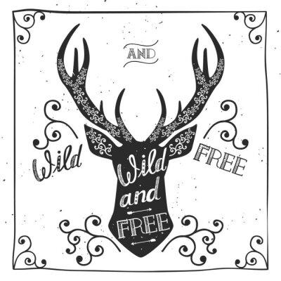 """Affiche tirée par la main de typographie, carte de voeux, pour la conception de t-shirt """"sauvage et libre"""", citation de lettrage de main. Illustration vectorielle"""