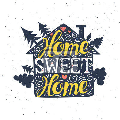 Affiche typographique dessinée à la main. La douceur du foyer. Peut être utilisé comme une carte de voeux, des sacs ou un t-shirt. Illustration vectorielle