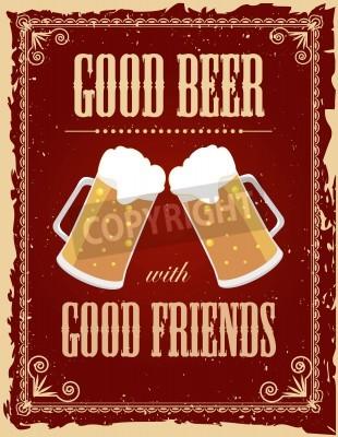 Papiers peints Affiche vintage de bière avec des effets grunge.