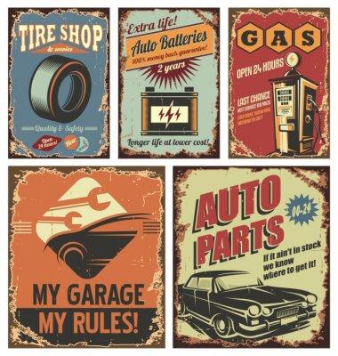 Papiers peints Affiches et affiches en car service vintage