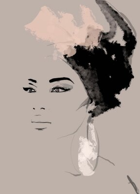 Papiers peints African American illustration for fashion banner. Trendy woman model background. Afro hair style girl