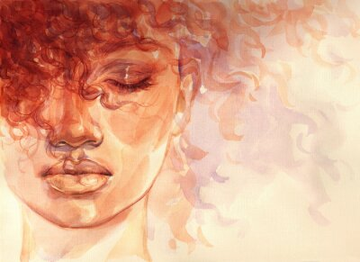 Papiers peints african american woman. illustration. watercolor painting