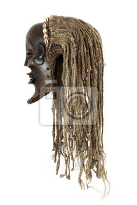 African tribal mask isolated on white background