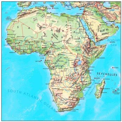Papiers peints Afrique carte physique du continent