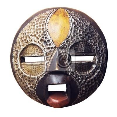 Afrique circulaire masque Ashanti isolé sur fond blanc