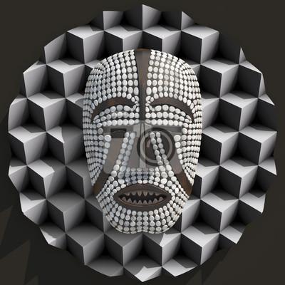 Afrique Woyo masque composition 3d illustratied