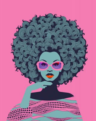 Papiers peints Afro American woman art portrait with pink sunglasses. Mid century modern retro style. Eps10 vector