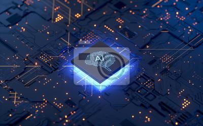 Papiers peints AI, Artificial Intelligence concept,3d rendering,conceptual image.