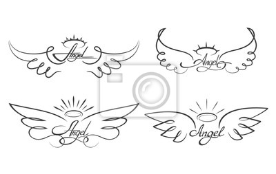 Aile D Ange Tatouage ailes dange illustration vectorielle dessin. ailé, angélique, papier