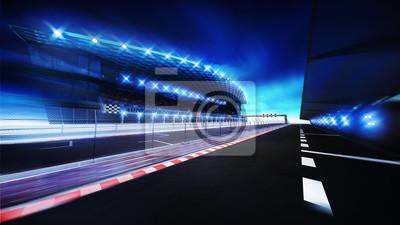 Aire de fin de course avec ligne de caisse et tribune principale