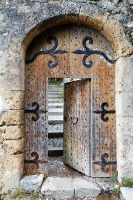 Papiers peints Ajar vieille porte en bois