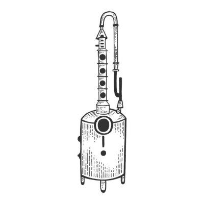 Alcohol distilling machine sketch engraving vector illustration. Moonshine. Scratch board style imitation. Hand drawn image.
