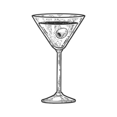 Alcoholic drink liquor with olive in a glass sketch engraving vector illustration. T-shirt apparel print design. Scratch board imitation. Black and white hand drawn image.