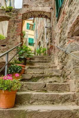 Papiers peints Alley in Italian old town Liguria Italy