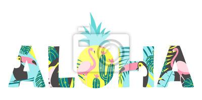 Aloha texte avec toucan, flamant, ananas et feuilles exotiques. Peut être utilisé pour l'affiche, carte de voeux, sacs, t-shirt. Illustration vectorielle