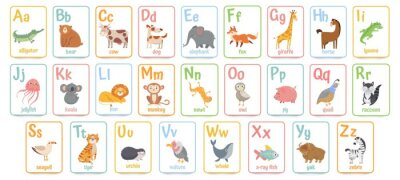 Papiers peints Alphabet cards for kids. Educational preschool learning ABC card with animal and letter cartoon vector illustration set. Flashcards with cute characters and english words placed in alphabetical order.
