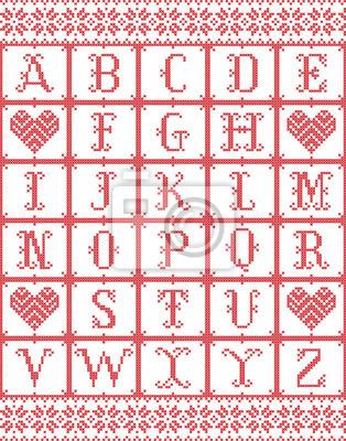 Alphabet de style scandinave inspiré par Noël norvégien, modèle sans couture d'hiver festif en point de croix avec coeur, éléments de flocon de neige rouge, point de croix blanc