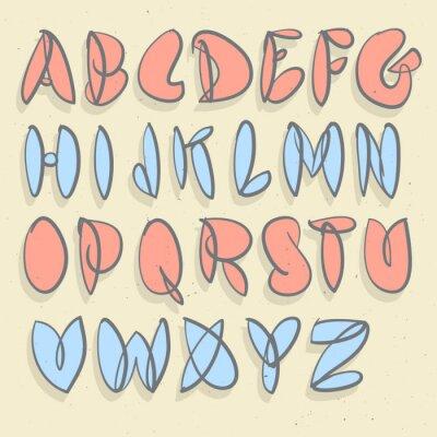 Papiers peints Alphabet tiré à la main. Alphabet à bulles non soudées à la main.