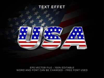 Papiers peints America text effect editable font. USA text 3d silver style. Free font used.