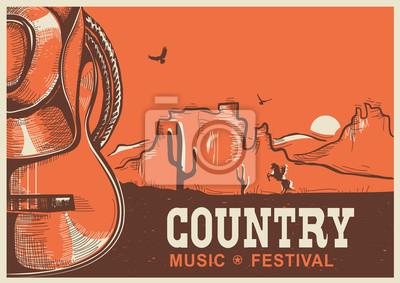 Papiers peints Américain, pays, musique, affiche, cow-boy, chapeau, guitare
