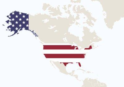 Papiers peints Amérique du Nord avec la carte accentuée des USA.