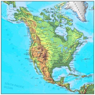 Papiers peints Amérique du Nord carte physique continent