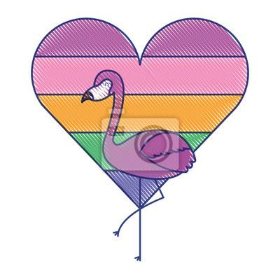 Papiers Peints Amour De Flamingo Et Coeur Avec Illustration De Vecteur De Couleur