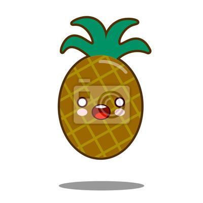 Papiers Peints Ananas Fruit Dessin Animé Personnage Icône Kawaii Plat