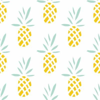 Papiers peints Ananas sur le fond blanc. Vecteur, seamless, modèle, à, tropique, fruit.