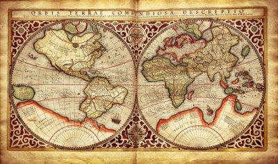 Papiers peints Ancienne carte du monde, imprimée en 1587