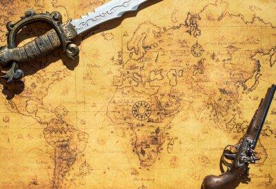 Papiers peints Ancienne carte du trésor avec épée et pistolet à fusil.