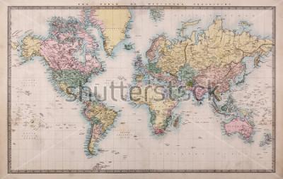 Papiers peints Ancienne carte originale de la projection de World on Mercators vers 1860, les pays sont nommés tels qu'ils étaient alors la Perse, l'Arabie, etc. Quelques taches comme prévu pour une carte de