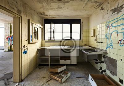 Ancienne cuisine détruit, maison abandonnée intérieur papier peint ...