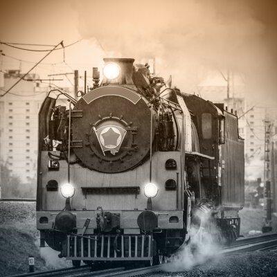 Papiers peints Ancienne locomotive à vapeur russe rétro.