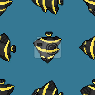 Angelfish françaises, seamless vector pattern, style pixel