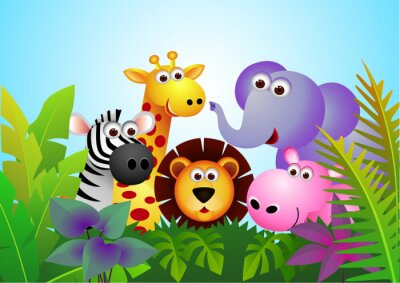 Animal Cartoon Dans La Jungle Papier Peint Papiers Peints Verdure
