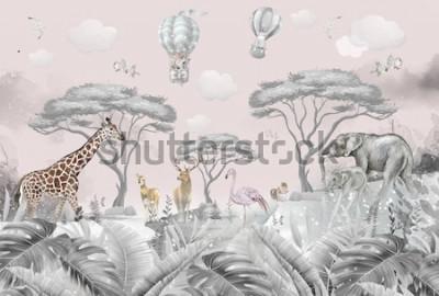 Papiers peints animals in the forest children's room wallpaper design