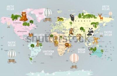 Papiers peints Animals world map for kids wallpaper design
