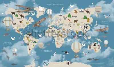 Papiers peints Animals world map for kids wallpaper design Turkish articles